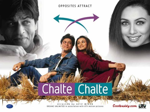 The movie Chalte Chalte which stars Bollywood's most famous actors Shah Rukh Khan and Rani Mukerjee, to be shown at the Wits Theatre on May 17th at 6:30pm. Photo: Provided