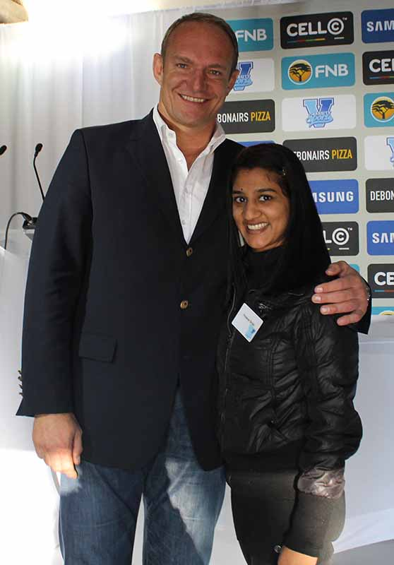 Francios Pienaar, 1995 rugby world cup winning coach and me at the Varsity Football Launch. Photo: Mfuneko Toyana