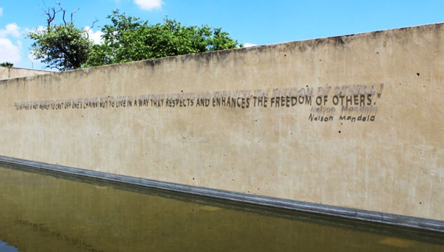 "As you enter the apartheid museum, you are greeted by this saying which Nelson Mandela said in 1999. It says ""To be free is not merely to cast off one's chains, but to live in a way that respects and enhances the freedom of others."" Photo: Prelene Singh"