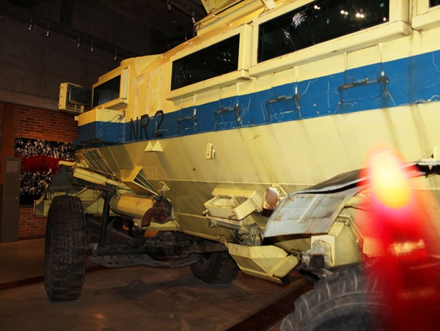 This photo shows you the imposing yellow armoured vehicle which was used by the police and the army called who called it a casspir. This is representative of the constant police presence in the townships during apartheid South Africa. It also became the central figure of the Soweto uprising of 1976. Photo: Prelene Singh