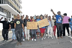 Students launched an angry protest against the Tshwane University due to the lack of funding from NSFAS. Photo: SowetanLive