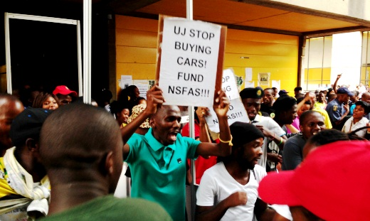 Twenty students from the University of Johannesburg were arrested and suspended from registering to study at the university because of protests over NSFAS funding. Photo: Provided