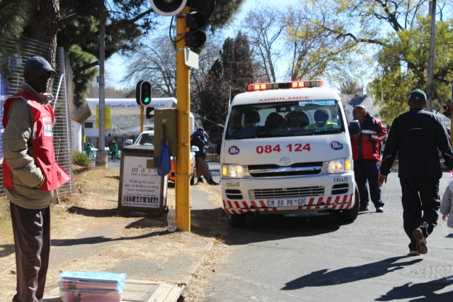 As usual protocol - ambulances were on site and ready to help if the walk became too much for people. Although I believe Gauteng is a pretty fit province therefore the paramedics could sit under the trees and chill out eating lunch. Photo: Prelene Singh.