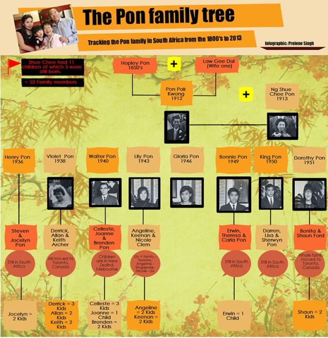 The Pon family of Johannesburg is a traditional Chinese South African family. To fully understand and track their history, it is important to understand relations within the family. There have been five generations of Pons in South Africa since the family first arrived at the end of the 19th century and the first permanent settlers in 1938.   By Prelene Singh.