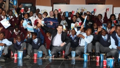 Managing Director of Primestars Martin Sweet with all the kids at Sandton City movies. Photo: Prelene Singh.