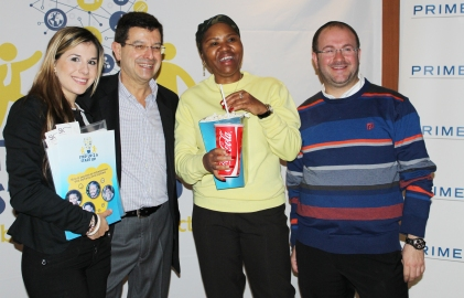 Mbuyiselo Botha receiving his Play Your Part gift. Photo: Prelene Singh.