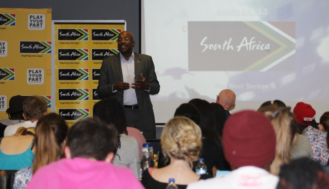 Brand South Africa's CEO Miller Matola speaking to final year Branding students at Vega School of Marketing. Photo: Prelene Singh.